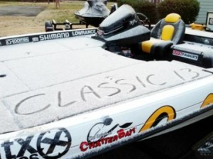 One of the Classic anglers wrote in the snow in his boat before leaving to go fish....
