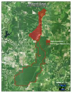 This map shows Wham Brake (in red) and the remainder of the Russel Sage WMA in Morehouse and Ouachita parishes