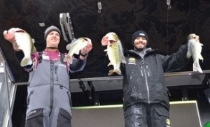 University of Louisiana-Monroe teammates Nick LaDart and Brian Eaton (left) finished day one of the 2014 FLW College Fishing National Championship in first place with a total catch of 16 pounds, 9 ounces. (Courtesy photo by Gary Mortenson)