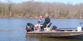 Godwin and Martin test out the new Duck Commander trolling rods on D'Arbonne