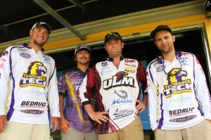 The Top 4 college anglers, from left to right: Bentley Manning of Tennessee Tech, Zach Parker of Bethel University, Brett Preuett of University of Louisiana Monroe and Robert Giarla of Tennessee Tech.