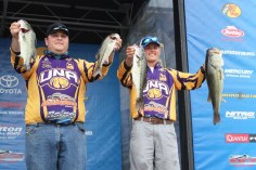 Michael Gullette and Nathan Martin with four big bass