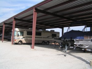 The new concrete parking surface is a great upgrade for boat and RV owners.