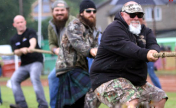 Godwin anchors the line in the Highland Games tug of war...yes, Duck Dynasty in Scotland.