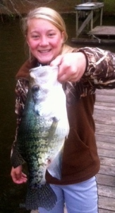 Monster crappie like this one caught by Tiffini Harrell are what we're looking for!