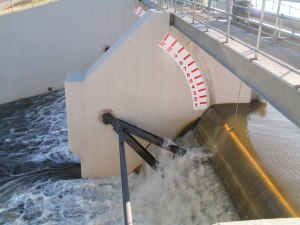 Water gushing out the tainter gates this spring